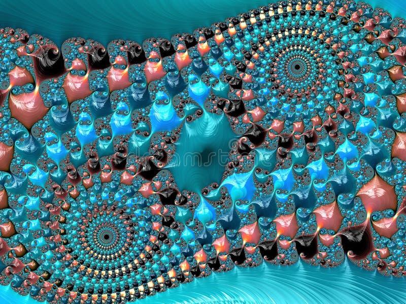 Το μπλε, το κοράλλι και μαύρο αφηρημένο διπλό σπειροειδές κατασκευασμένο fractal, τρισδιάστατα δίνουν για την αφίσα, το σχέδιο κα ελεύθερη απεικόνιση δικαιώματος