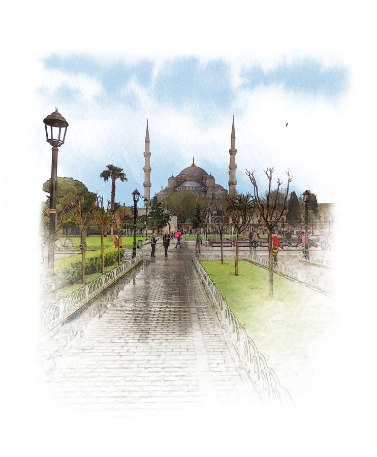 Το μπλε μουσουλμανικό τέμενος, κάλεσε επίσης το μουσουλμανικό τέμενος του Ahmed σουλτάνων στο κέντρο της Ιστανμπούλ Σκίτσο Waterc απεικόνιση αποθεμάτων