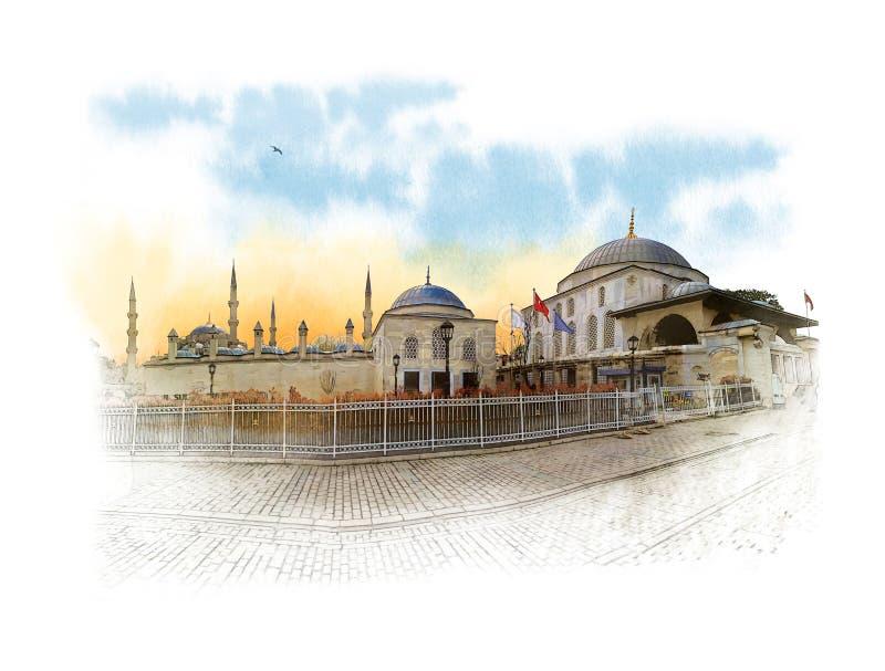 Το μπλε μουσουλμανικό τέμενος, κάλεσε επίσης το μουσουλμανικό τέμενος του Ahmed σουλτάνων στο κέντρο της Ιστανμπούλ Σκίτσο Waterc ελεύθερη απεικόνιση δικαιώματος