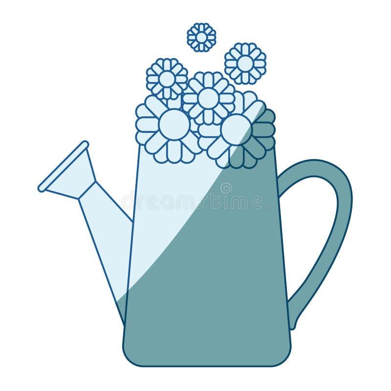 Το μπλε που σκιάζει τη σκιαγραφία του ποτίσματος μπορεί και ηλίανθοι μέσα ελεύθερη απεικόνιση δικαιώματος