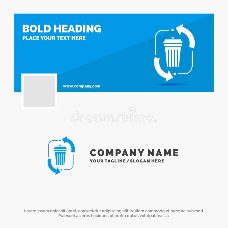 Το μπλε πρότυπο επιχειρησιακών λογότυπων για τα απόβλητα, διάθεση, απορρίματα, διαχείριση, ανακυκλώνει Σχέδιο εμβλημάτων υπόδειξη ελεύθερη απεικόνιση δικαιώματος
