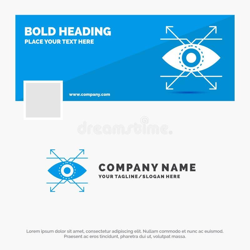 Το μπλε πρότυπο επιχειρησιακών λογότυπων για την επιχείρηση, μάτι, κοιτάζει, όραμα Σχέδιο εμβλημάτων υπόδειξης ως προς το χρόνο F διανυσματική απεικόνιση