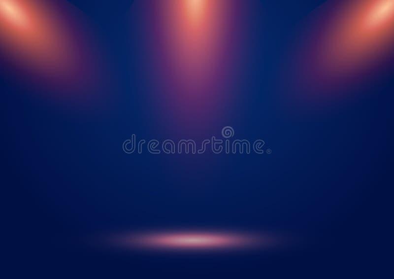 Το μπλε στάδιο παρουσιάζει υπόβαθρο με τα επίκεντρα και τις πορτοκαλιές ακτίνες και την επίδραση πυράκτωσης Κενή σκηνή Φωτισμένο  ελεύθερη απεικόνιση δικαιώματος