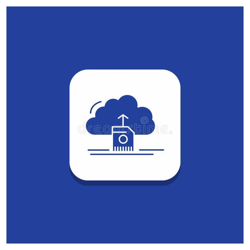 Το μπλε στρογγυλό κουμπί για το σύννεφο, φορτώνει, εκτός από, στοιχεία, τον υπολογισμό του εικονιδίου Glyph διανυσματική απεικόνιση