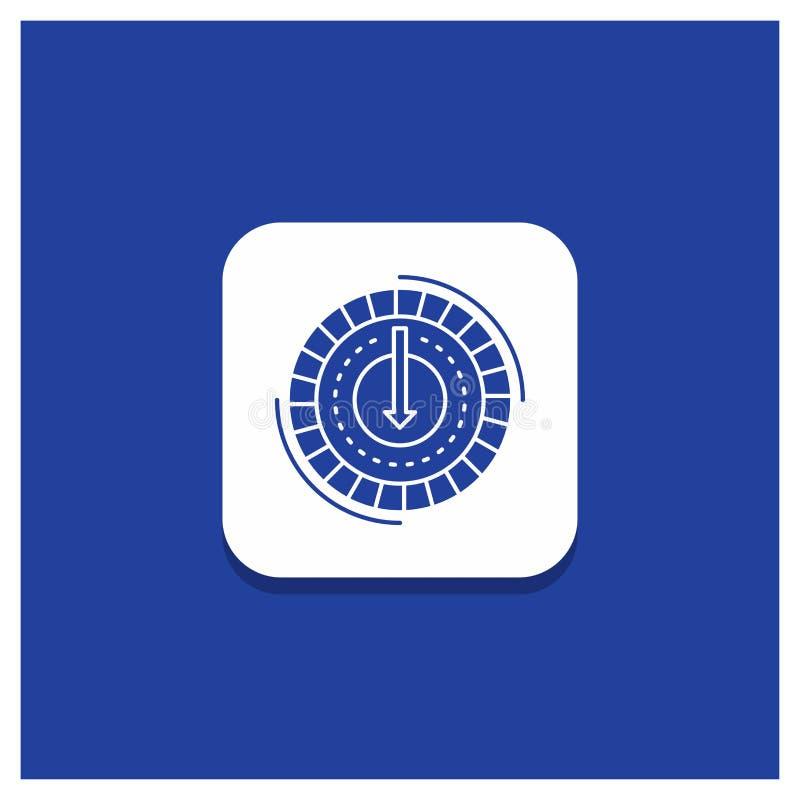 Το μπλε στρογγυλό κουμπί για την κατανάλωση, κόστος, δαπάνη, χαμηλότερη, μειώνει το εικονίδιο Glyph διανυσματική απεικόνιση