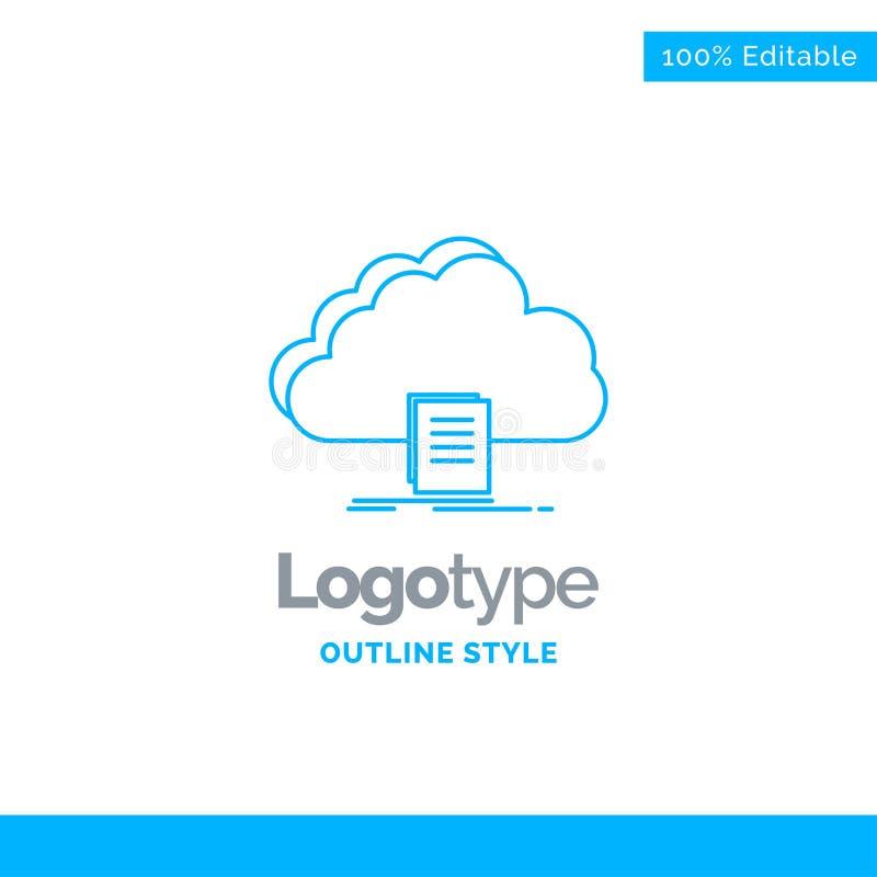 Το μπλε σχέδιο λογότυπων για το σύννεφο, πρόσβαση, έγγραφο, αρχείο, μεταφορτώνει Bu διανυσματική απεικόνιση