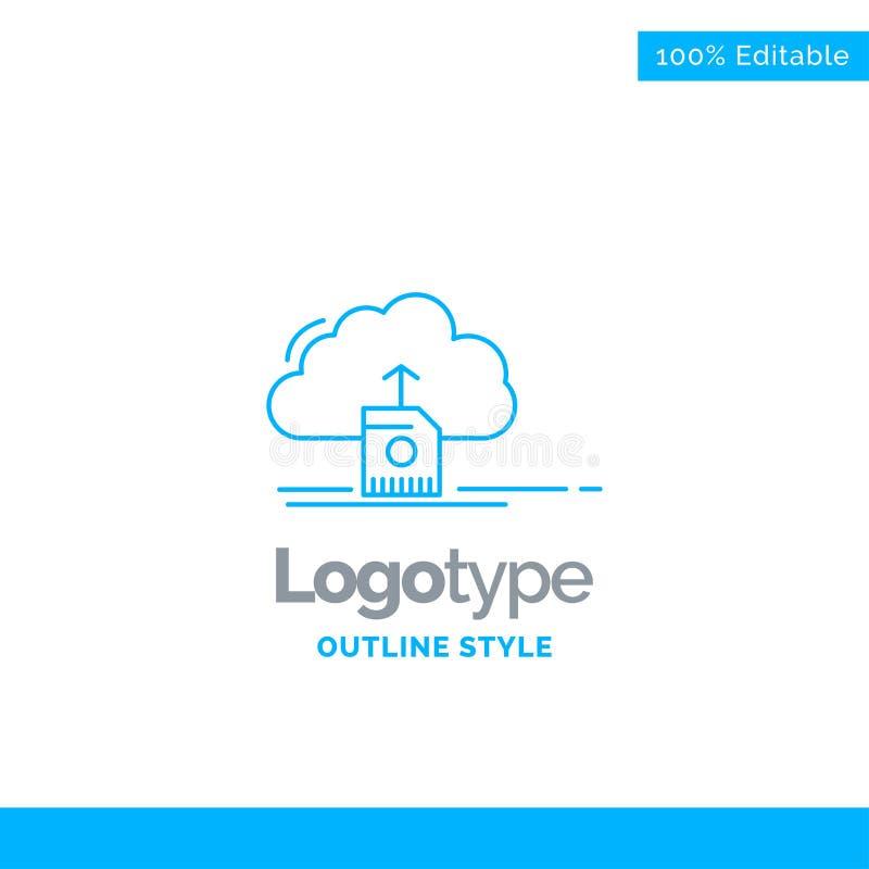 Το μπλε σχέδιο λογότυπων για το σύννεφο, φορτώνει, εκτός από, στοιχεία, τον υπολογισμό Busin ελεύθερη απεικόνιση δικαιώματος