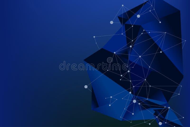 Το μπλε φουτουριστικές πολύγωνο και η γραμμή υποβάθρου συνδέουν το σημείο με το διάστημα κειμένων ελεύθερη απεικόνιση δικαιώματος