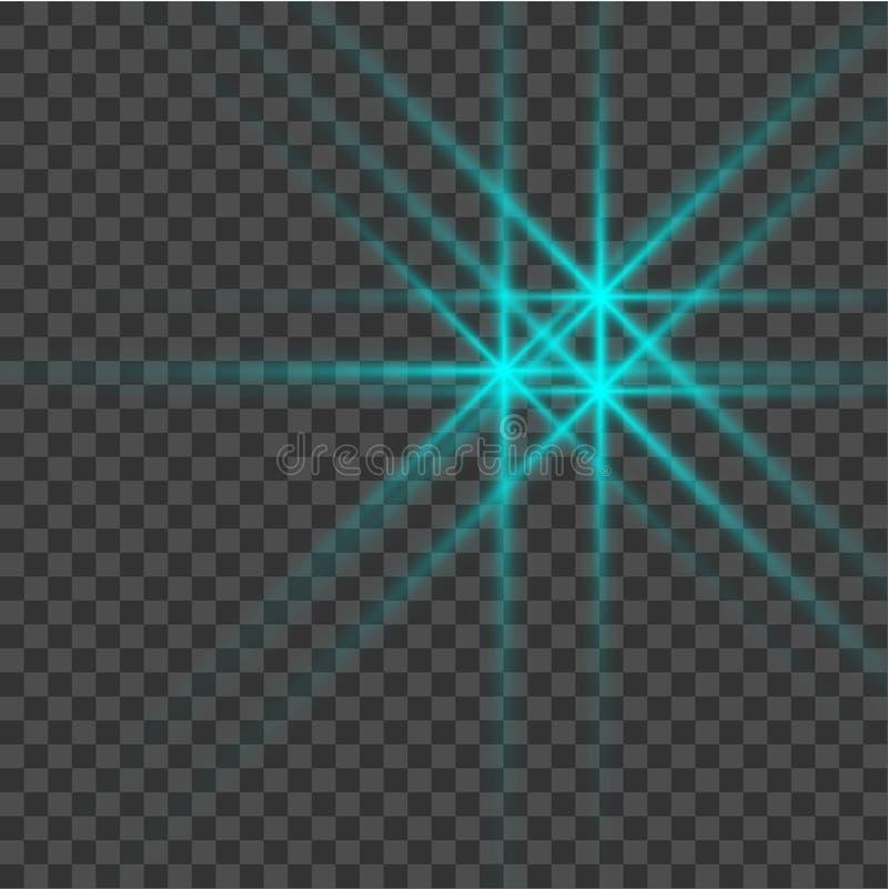 Το μπλε όμορφο φως εκρήγνυται με μια διαφανή έκρηξη Διανυσματική, φωτεινή απεικόνιση για την τέλεια επίδραση με τα σπινθηρίσματα  διανυσματική απεικόνιση