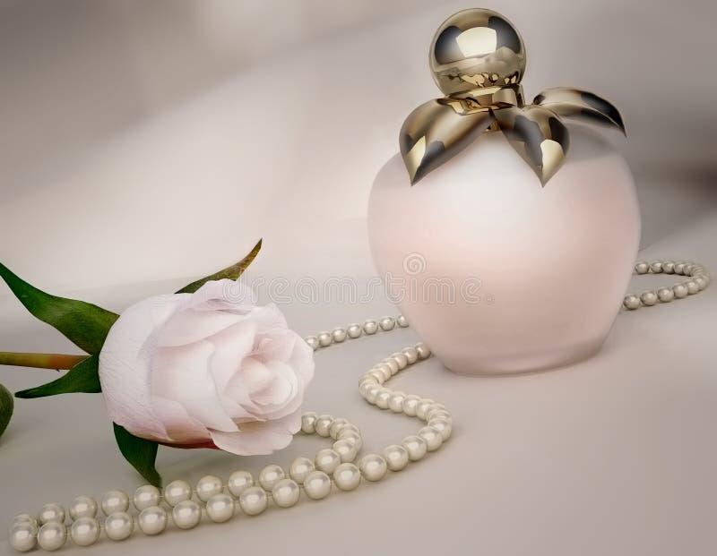 Το μπουκάλι αρώματος, άσπρο αυξήθηκε λουλούδι και σειρά των μαργαριταριών στοκ φωτογραφία με δικαίωμα ελεύθερης χρήσης