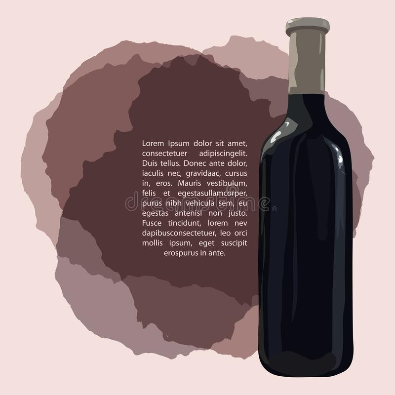 Το μπουκάλι του κόκκινου κρασιού στους λεκέδες κρασιού, χέρι σύρει στοκ φωτογραφία