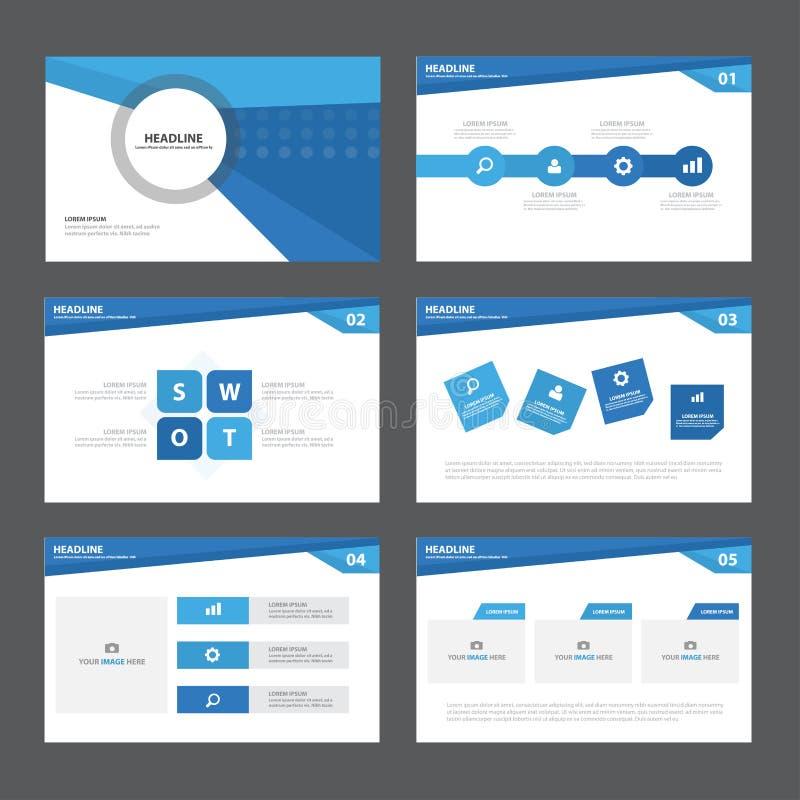 Το μπλε αφηρημένο επίπεδο σχέδιο στοιχείων Infographic προτύπων παρουσίασης έθεσε για το μάρκετινγκ φυλλάδιων ιπτάμενων φυλλάδιων διανυσματική απεικόνιση