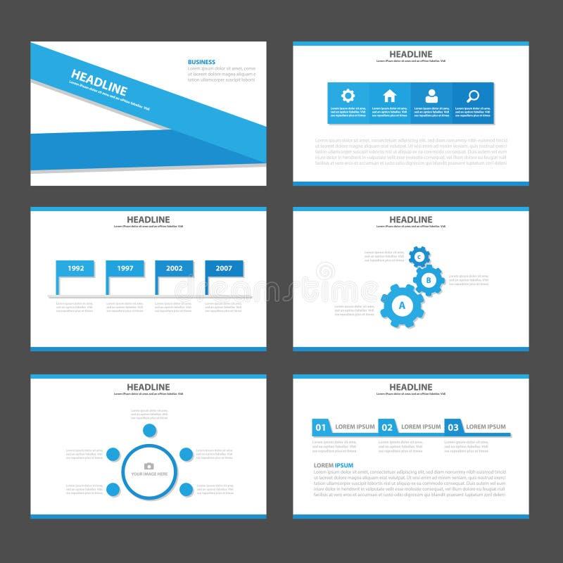 Το μπλε επίπεδο σχέδιο προτύπων παρουσίασης εικονιδίων στοιχείων Infographic ετικετών έθεσε για τη διαφήμιση του ιπτάμενου φυλλάδ απεικόνιση αποθεμάτων