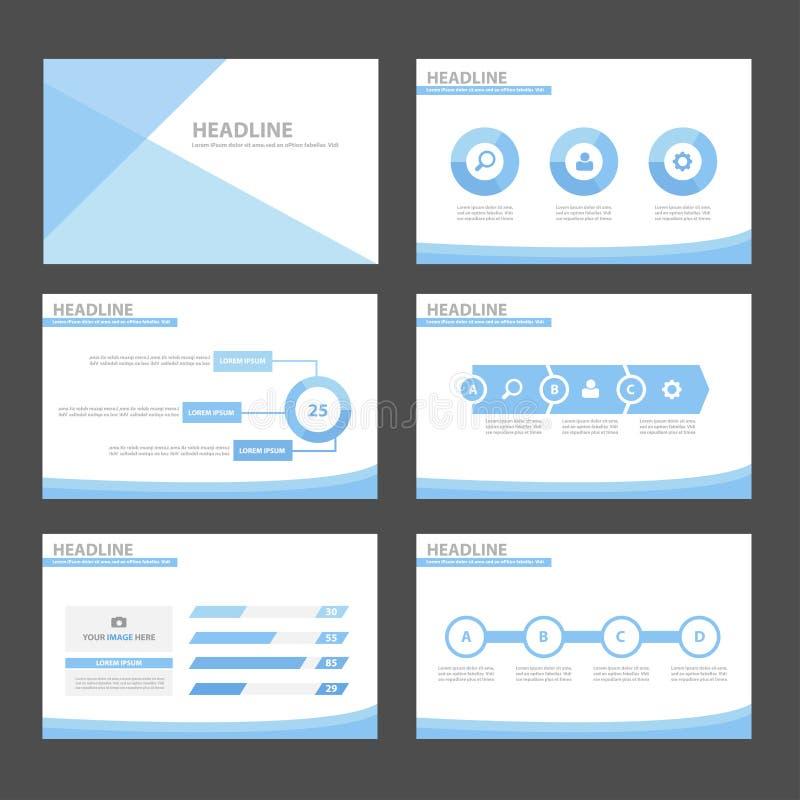 Το μπλε επίπεδο σχέδιο προτύπων παρουσίασης στοιχείων και εικονιδίων κυμάτων infographic έθεσε για τον ιστοχώρο φυλλάδιων ιπτάμεν διανυσματική απεικόνιση