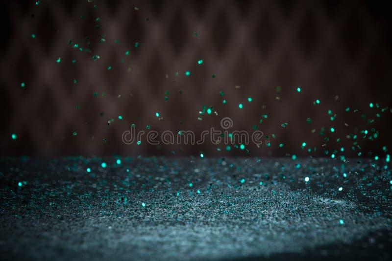 Το μπλε κιρκιριών ακτινοβολεί υπόβαθρο φω'των Εκλεκτής ποιότητας σπινθήρισμα Bokeh με στοκ φωτογραφία