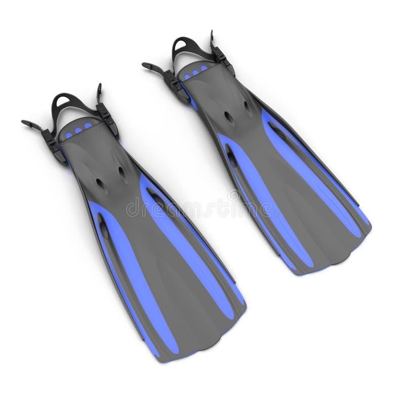 Το μπλε κολυμπά τα πτερύγια στο λευκό τρισδιάστατη απεικόνιση ελεύθερη απεικόνιση δικαιώματος