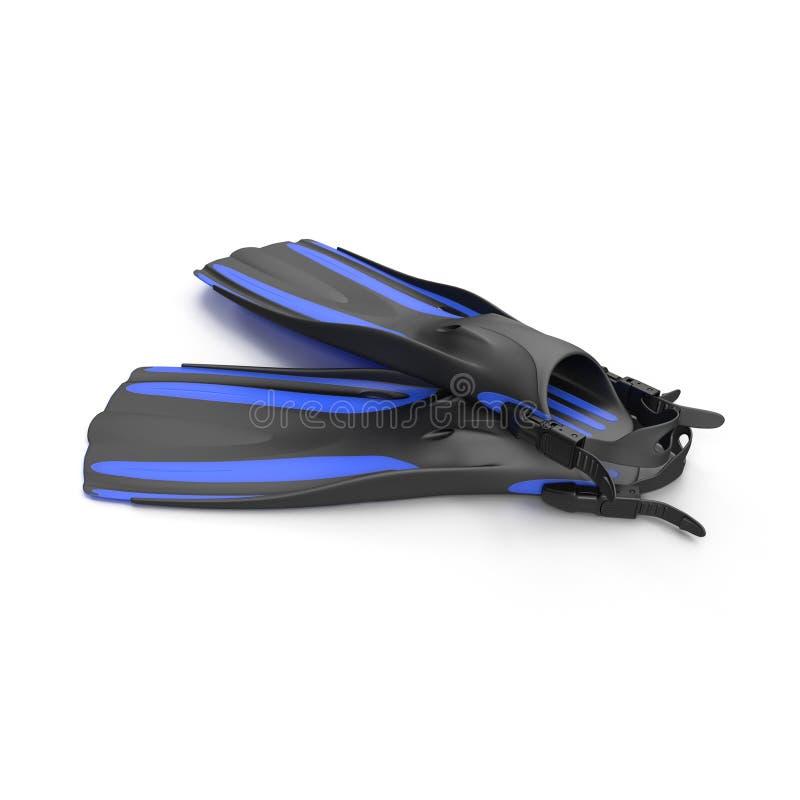 Το μπλε κολυμπά τα πτερύγια στο λευκό τρισδιάστατη απεικόνιση διανυσματική απεικόνιση