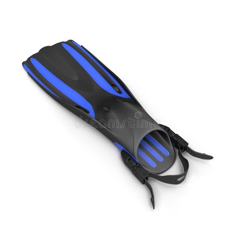 Το μπλε κολυμπά τα πτερύγια στο λευκό τρισδιάστατη απεικόνιση απεικόνιση αποθεμάτων