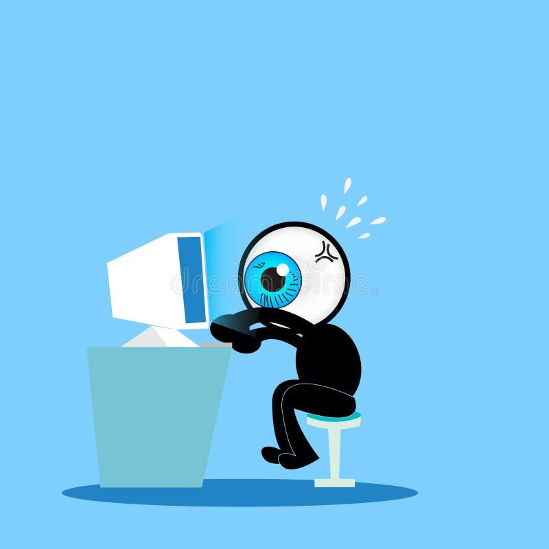 Το μπλε μάτι που εργάζεται σκληρά με τον υπολογιστή ελεύθερη απεικόνιση δικαιώματος