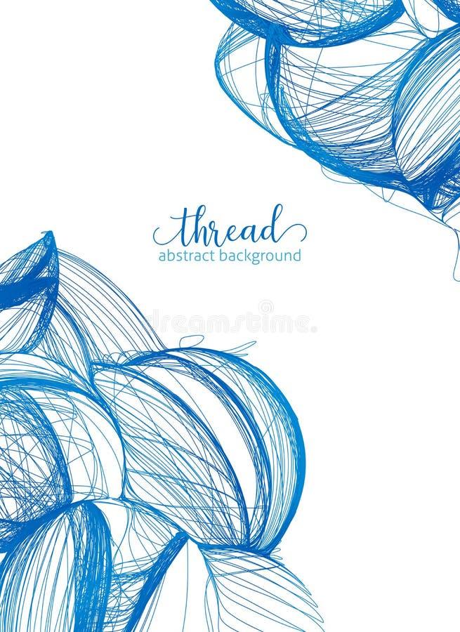 Το μπλε νήμα βράζει διανυσματικό αφηρημένο υπόβαθρο αφισών διανυσματική απεικόνιση
