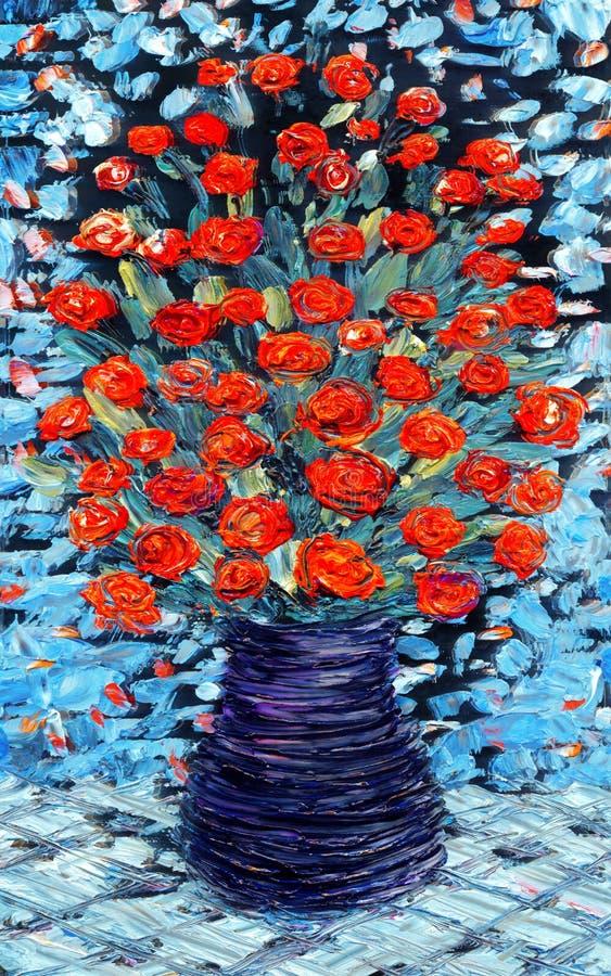 το μπλε συσσωρεύει τα λουλούδια που κρεμούν ρόδινο ακόμα επιτραπέζιο vase πετρελαίου ζωής Ανθοδέσμη των κόκκινων λουλουδιών στο μ ελεύθερη απεικόνιση δικαιώματος