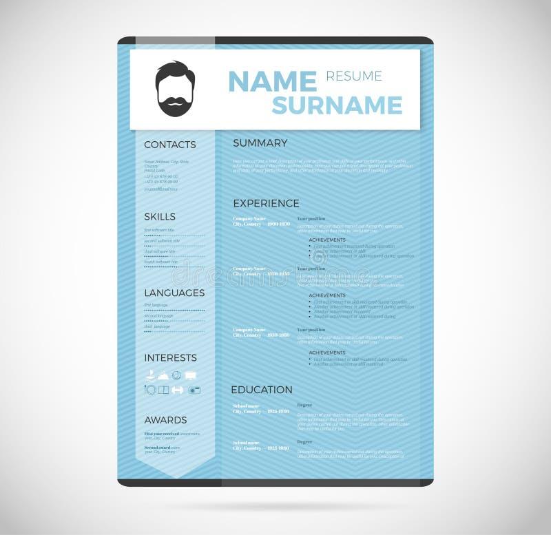 Το μπλε σύγχρονο κάθετο minimalistic προσωπικό διάνυσμα επαναλαμβάνει - πρότυπο βιογραφικού σημειώματος διανυσματική απεικόνιση