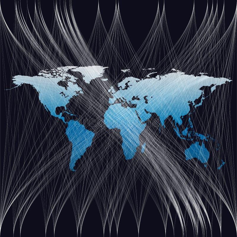Το μπλε υπόβαθρο χρώματος με τον παγκόσμιο χάρτη, αφαιρεί τα άσπρα κύματα, γραμμές, καμπύλες, στρόβιλος Σχέδιο κινήσεων Διανυσματ διανυσματική απεικόνιση