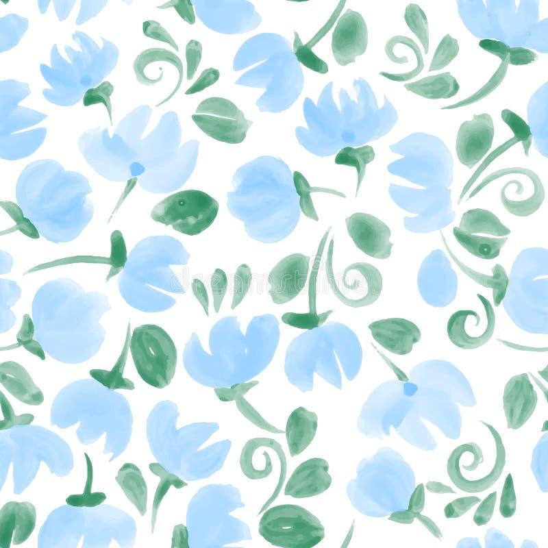 Το μπλε χαριτωμένο watercolor ανθίζει το άνευ ραφής σχέδιο ελεύθερη απεικόνιση δικαιώματος