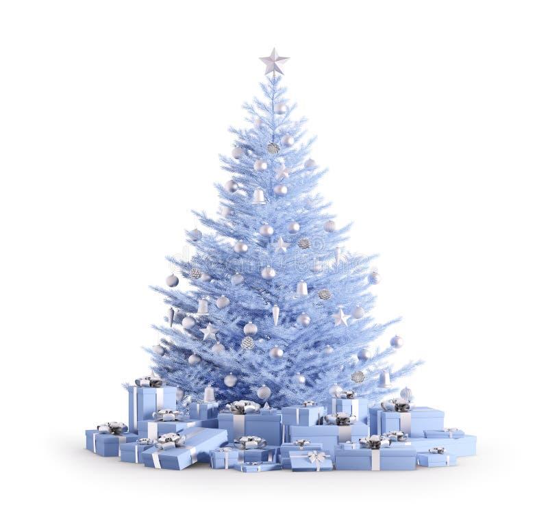 Το μπλε χριστουγεννιάτικο δέντρο με τα δώρα απομόνωσε τρισδιάστατο δίνει απεικόνιση αποθεμάτων