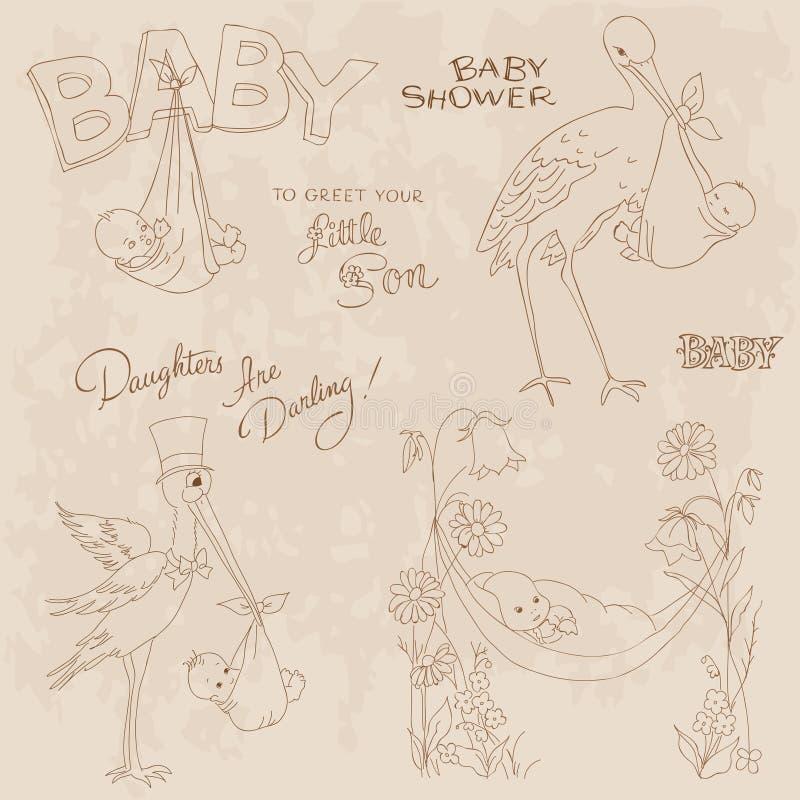 το μωρό άφιξης doodles έθεσε τον τ& διανυσματική απεικόνιση