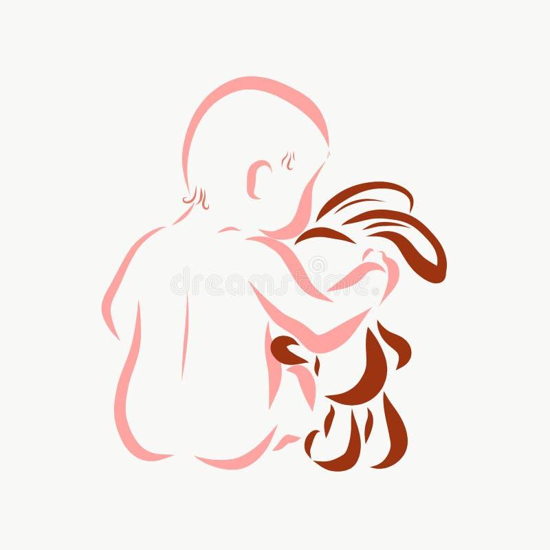 Το μωρό αγκαλιάζει ήπια τους λαγούς ελεύθερη απεικόνιση δικαιώματος