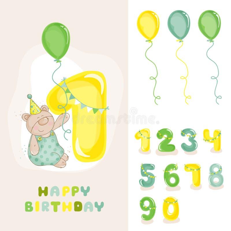 Το μωρό αντέχει την κάρτα γενεθλίων διανυσματική απεικόνιση