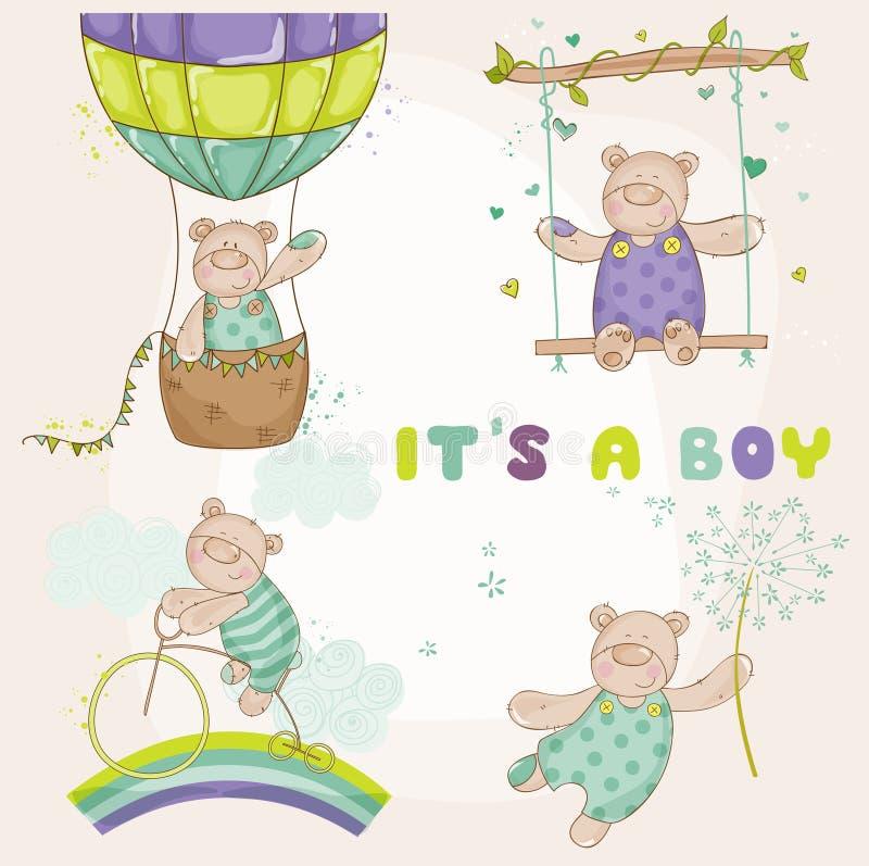 Το μωρό αντέχει το σύνολο - κάρτα ντους μωρών διανυσματική απεικόνιση