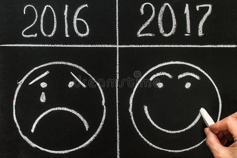 Το νέο έτος 2017 είναι ερχόμενη έννοια το 2017 αντικαθιστά το 2016 στοκ εικόνα με δικαίωμα ελεύθερης χρήσης