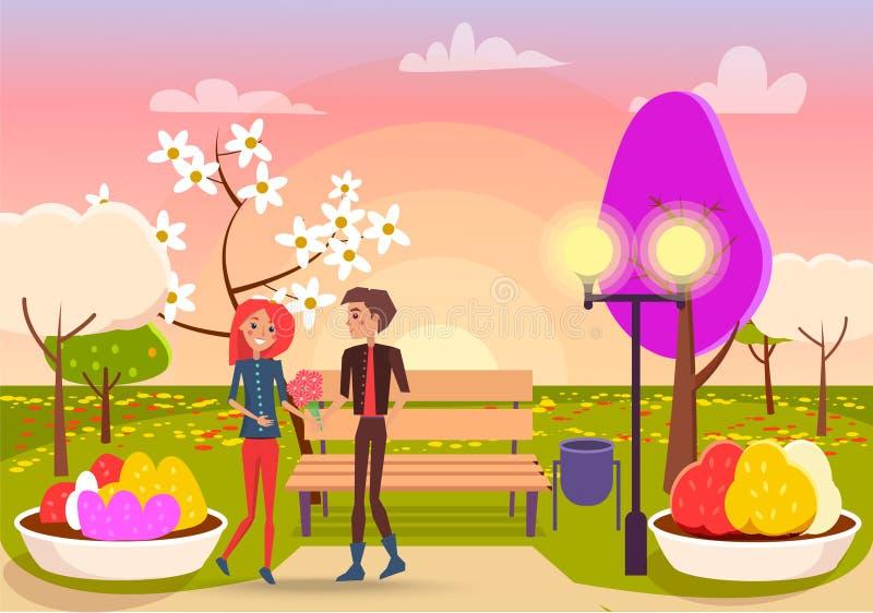Το νέο αγόρι δίνει την ανθοδέσμη των λουλουδιών στο χαριτωμένο κορίτσι διανυσματική απεικόνιση