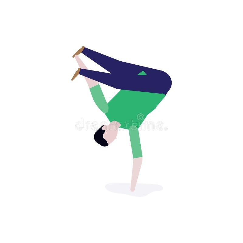 Το νέο αγόρι Breakdancer κάνει ένα πάγωμα από τη μια πλευρά Η έννοια για τα β-αγόρια και το χορό σπασιμάτων απεικόνιση αποθεμάτων