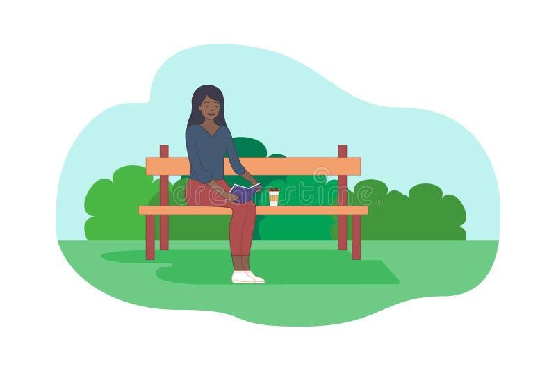 Το νέο αφροαμερικανός κορίτσι κάθεται στον πάγκο απεικόνιση αποθεμάτων