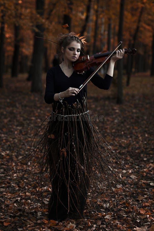 Το νέο βιολί παιχνιδιού γυναικών σταθμεύει το φθινόπωρο στοκ εικόνες