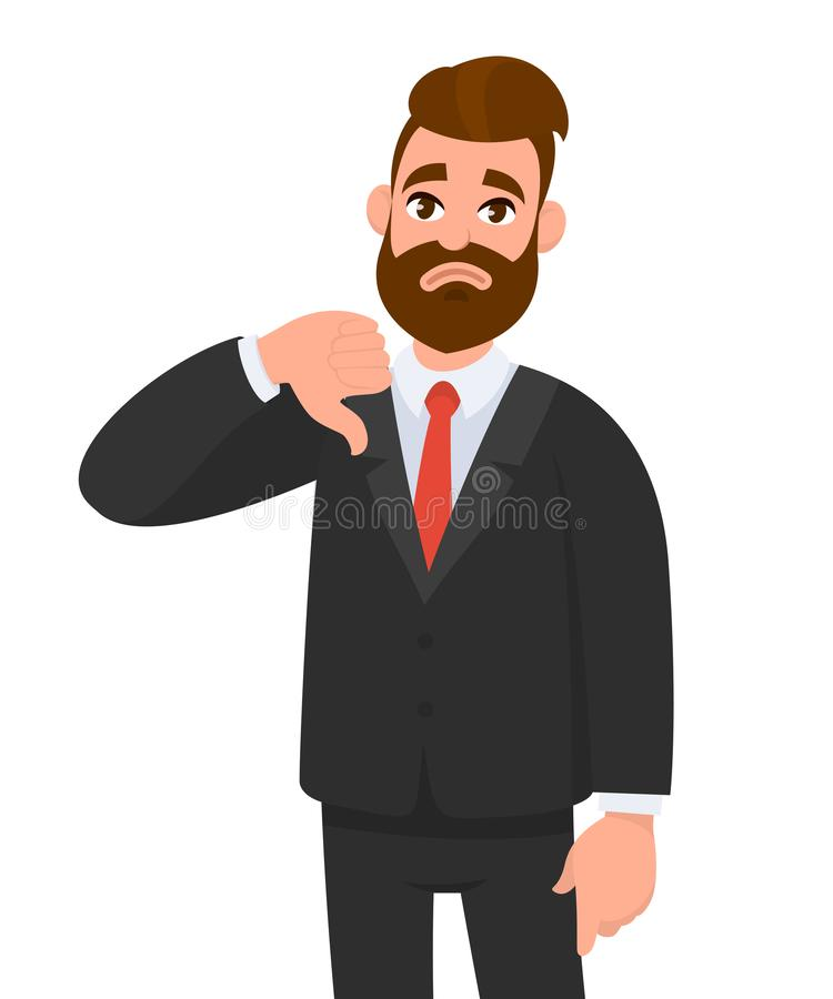 Το νέο επιχειρησιακό άτομο που παρουσιάζει αντίχειρες υπογράφει κάτω, αντιπαθεί, κοιτάζει με την αρνητικές έκφραση και την αποδοκ διανυσματική απεικόνιση