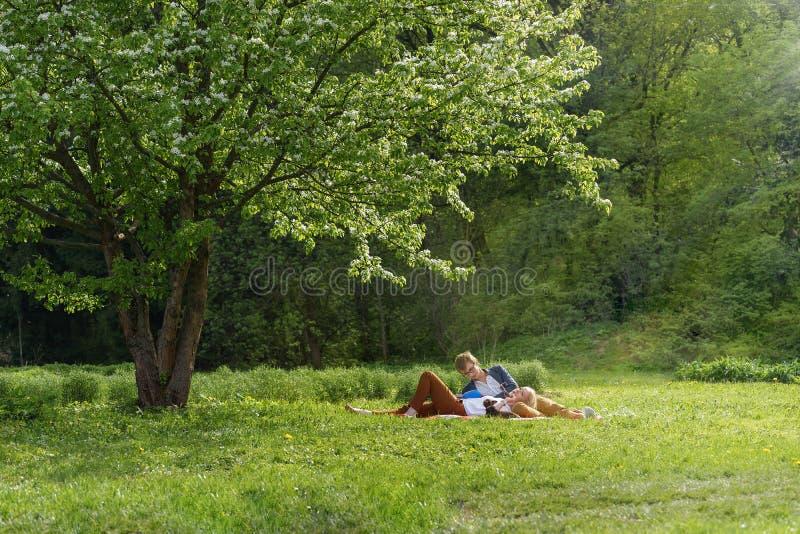 Το νέο ελκυστικό ευρωπαϊκό ζεύγος με το μικρό σκυλί παίρνει το υπόλοιπο στο κάλυμμα σε κάποιο θερινό πάρκο στη θερμή ηλιόλουστη η στοκ φωτογραφία