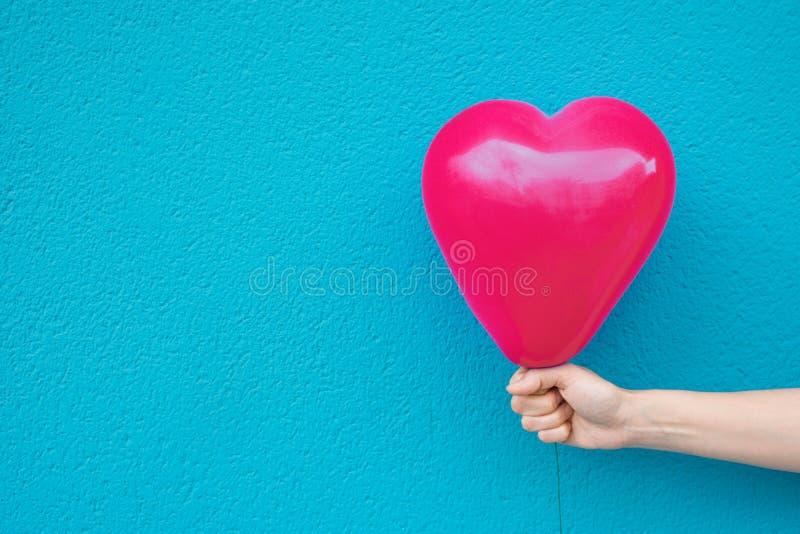 Το νέο καυκάσιο κορίτσι γυναικών κρατά στο τεντωμένο μπαλόνι αέρα μορφής καρδιών χεριών φωτεινό ρόδινο στον τυρκουάζ τοίχο βαλεντ στοκ φωτογραφία με δικαίωμα ελεύθερης χρήσης