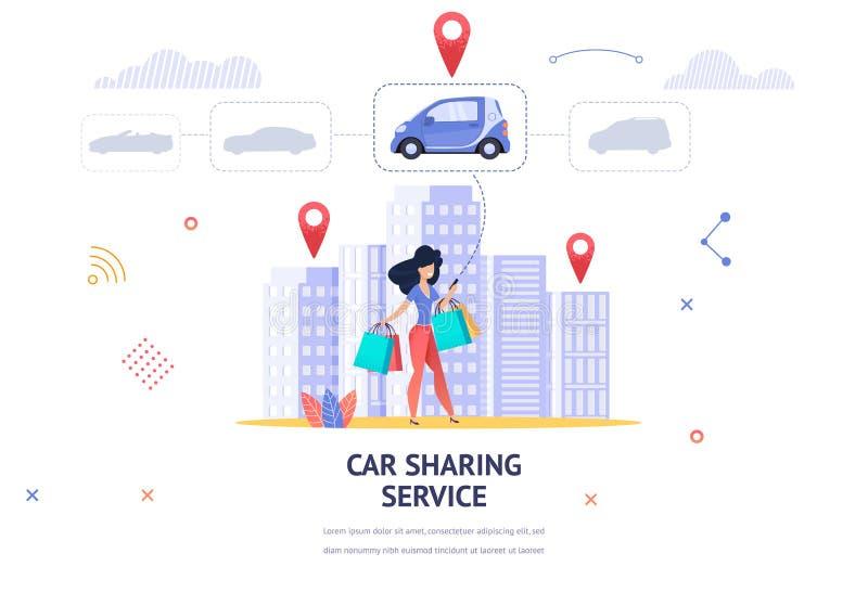 Το νέο κορίτσι απεικόνισης εμβλημάτων επιλέγει on-line το αυτοκίνητο διανυσματική απεικόνιση