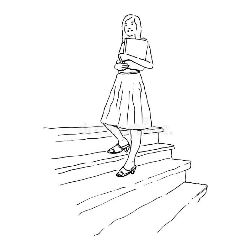 Το νέο κορίτσι πηγαίνει πίσω στο σχολείο ελεύθερη απεικόνιση δικαιώματος