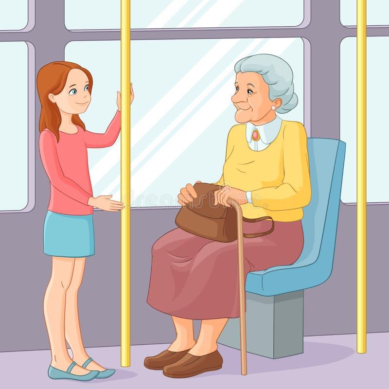 Το νέο κορίτσι που προσφέρει ένα κάθισμα σε μια ηλικιωμένη κυρία μεταφέρει δημόσια επίσης corel σύρετε το διάνυσμα απεικόνισης διανυσματική απεικόνιση