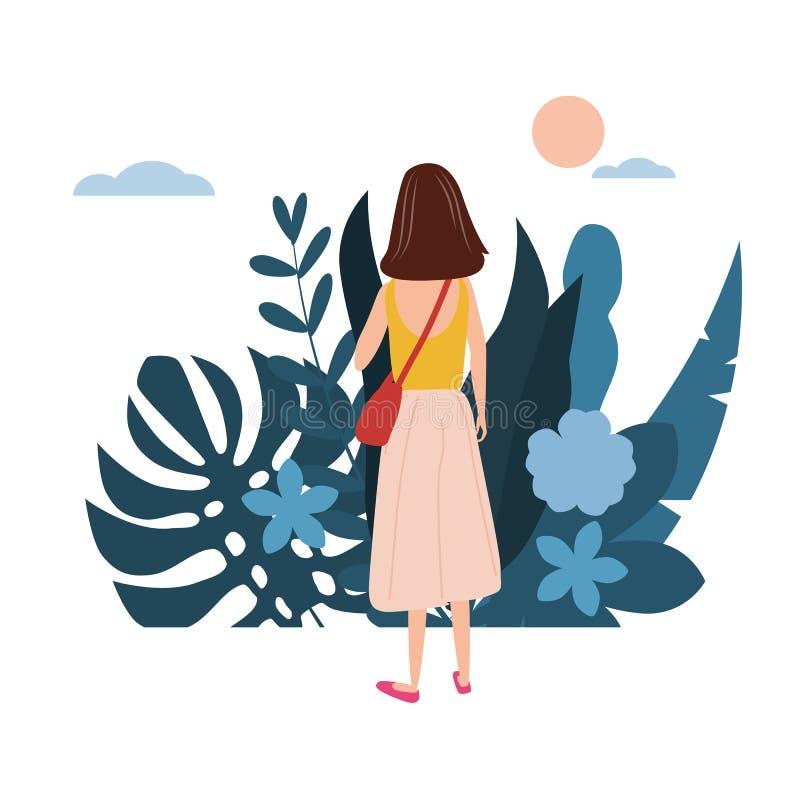 Το νέο κορίτσι σε μια κίτρινη μπλούζα πηγαίνει για την επιχείρησή του Η χλωρίδα υποβάθρου ανθίζει τα floral φύλλα r απεικόνιση αποθεμάτων