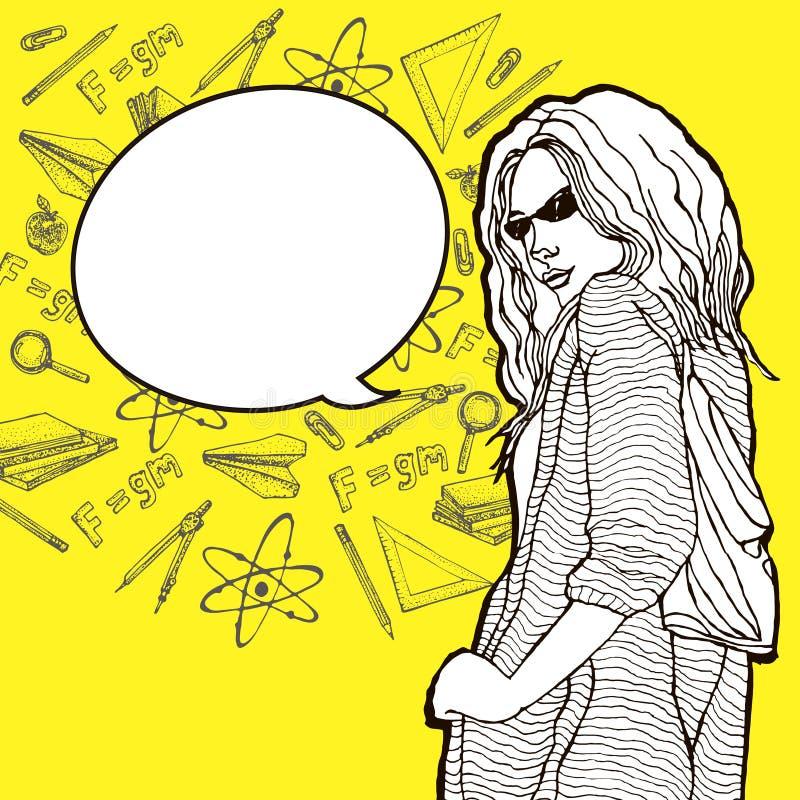 Το νέο κορίτσι σπουδαστών με τα γυαλιά και με σχολικών εξαρτημάτων και προμηθειών doodle τα στοιχεία γύρω από τη μεγάλη ομιλία βρ διανυσματική απεικόνιση