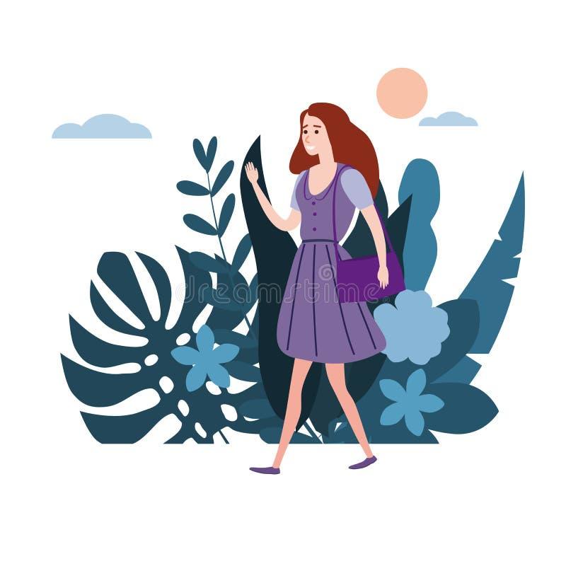 Το νέο κορίτσι στο ιώδες φόρεμα πηγαίνει για την επιχείρησή του Η χλωρίδα υποβάθρου ανθίζει τα floral φύλλα Επίπεδα κινούμενα σχέ απεικόνιση αποθεμάτων
