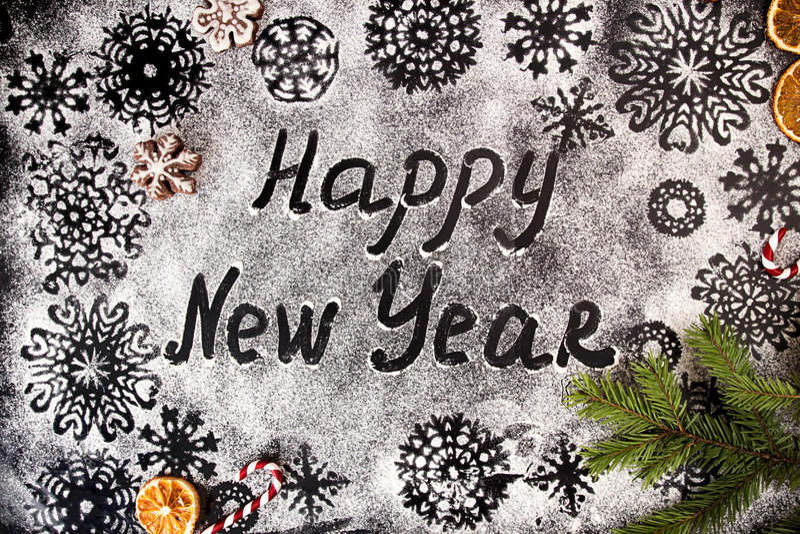 Το νέο υπόβαθρο έτους με snowflakes και το κείμενο καλή χρονιά σύρουν στοκ εικόνες με δικαίωμα ελεύθερης χρήσης