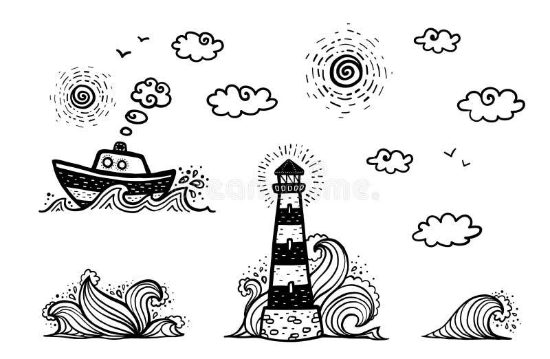 Το ναυτικό έθεσε στο ύφος κινούμενων σχεδίων doodles: σκάφος, φάρος, κύματα, ήλιος και σύννεφα διανυσματική απεικόνιση