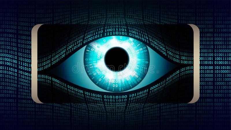 Το να όλος-δει μάτι του Μεγάλου Αδερφού στο smartphone σας, έννοια της μόνιμης σφαιρικής συγκεκαλυμμένης επιτήρησης που χρησιμοπο διανυσματική απεικόνιση